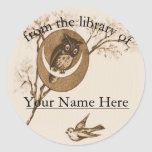 Owl and Bird Bookplate Classic Round Sticker