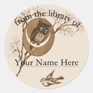 Owl and Bird Bookplate Round Sticker