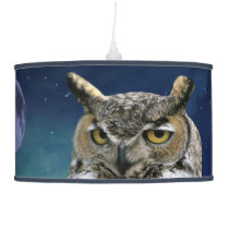 Owl and Blue Moon Hanging Lamp