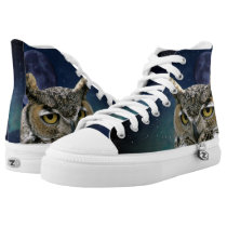 Owl and Blue Moon High-Top Sneakers
