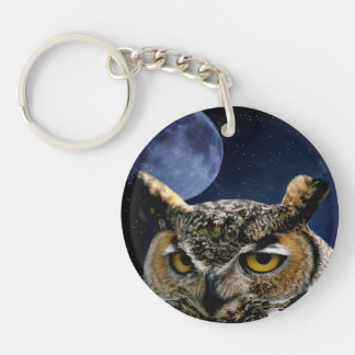 Owl and Blue Moon Keychain