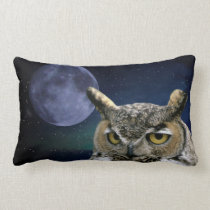 Owl and Blue Moon Lumbar Pillow