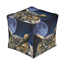 Owl and Blue Moon Pouf