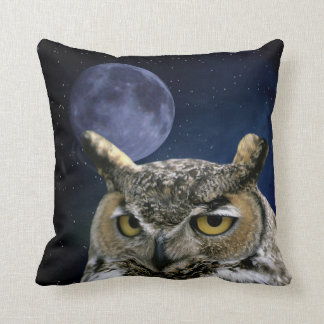 Owl and Blue Moon Throw Pillow