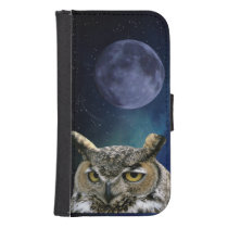 Owl and Blue Moon Wallet Phone Case For Samsung Galaxy S4