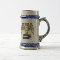 Owl and Books Beer Stein