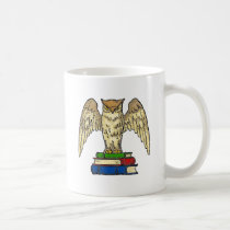 Owl and Books Coffee Mug