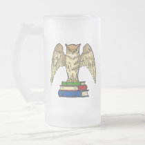 Owl and Books Frosted Glass Beer Mug