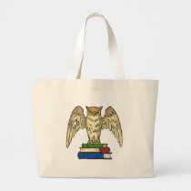 Owl and Books Large Tote Bag