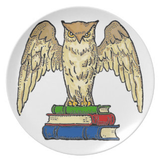 Owl and Books Plate