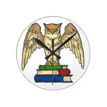 Owl and Books Round Clock