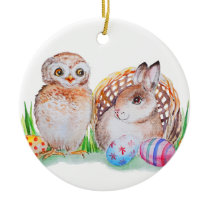 Owl and bunny Easter art Ceramic Ornament