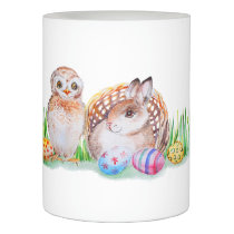 Owl and bunny Easter art Flameless Candle