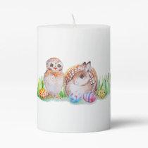 Owl and bunny Easter art Pillar Candle