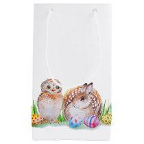 Owl and bunny Easter art Small Gift Bag