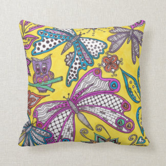 Owl and butterflies doodle on yellow background throw pillow