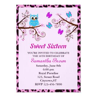 Owl and Butterflies Sweet Sixteen Card