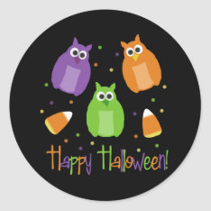 Owl and Candy Corn Halloween Stickers at Zazzle