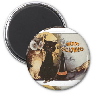 Owl and Cat Halloween Magnet