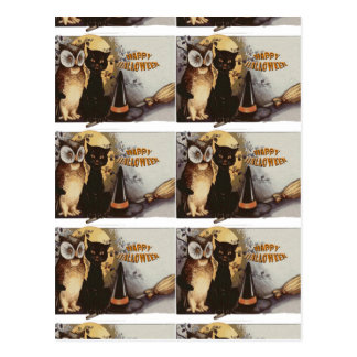 Owl and Cat Halloween Postcard