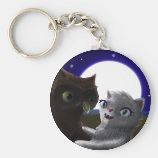 Owl and Cat Keychain