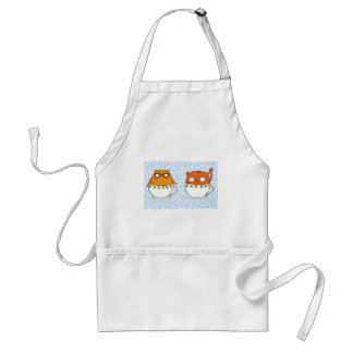 Owl and cat teacup buddies on china blue back adult apron