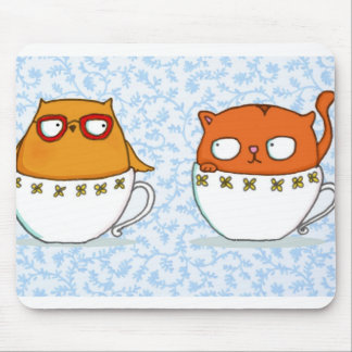 Owl and cat teacup buddies on china blue back mouse pad