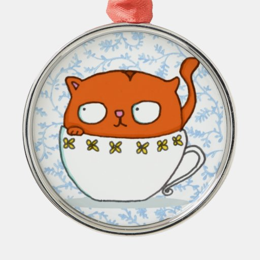Owl and cat teacup buddies on china blue back round metal christmas ornament