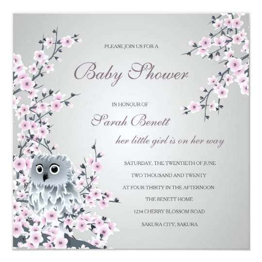 Owl and cherry blossoms baby shower invitation zazzle owl and cherry blossoms baby shower invitation filmwisefo