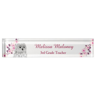 Owl And Cherry Blossoms Desk Name Plate