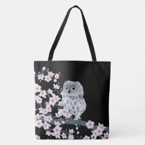 Owl And Cherry Blossoms PInk Black Tote Bag