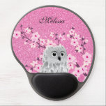 "Owl And Cherry Blossoms Pink Glitter Personalize Gel Mouse Pad<br><div class=""desc"">No real glitter!