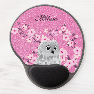 Owl And Cherry Blossoms Pink Glitter Personalize Gel Mouse Pad