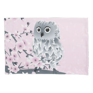 Owl And Cherry Blossoms Pink Gray Pillowcase