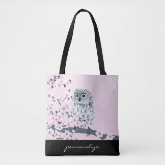 Owl And Cherry Blossoms Pink Kids Tote Bag
