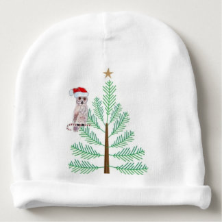 Owl and Christmas tree Baby Cotton Beanie