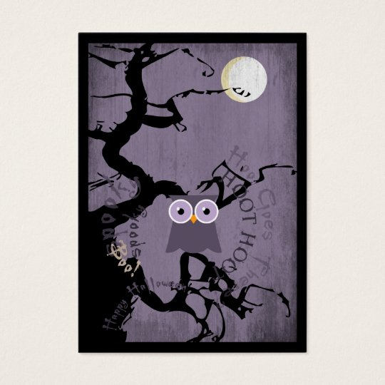 Owl and Creepy Gnarled Tree for Halloween Business Card