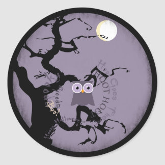 Owl and Creepy Gnarled Tree for Halloween Classic Round Sticker