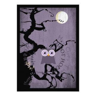 Owl and Creepy Gnarled Tree for Halloween Invitation