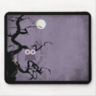 Owl and Creepy Gnarled Tree for Halloween Mouse Pad