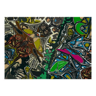 Owl and Dragon Fly Abstract Poster