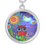 Owl and Flowers Pendant Necklace