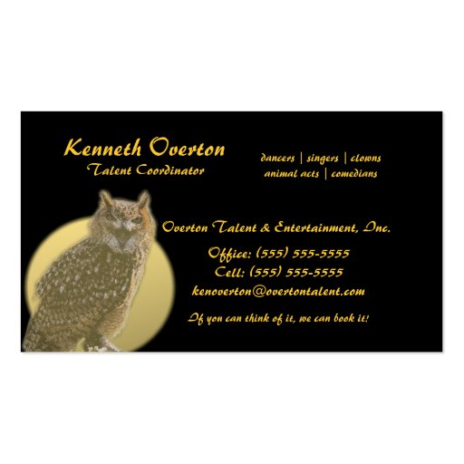 Owl and Full Moon Business Card Template
