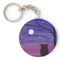 Owl and Full Moon Keychain