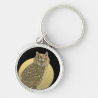 Owl and Full Moon Silver-Colored Round Keychain