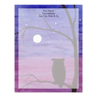 Owl and Full Moon Letterhead