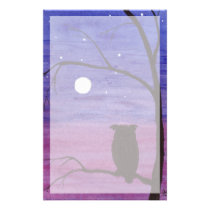 Owl and Full Moon Stationery