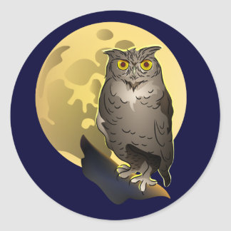Owl and Full Moon Classic Round Sticker