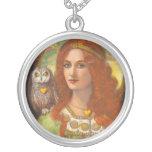 Owl and Goddess Athena Spiritual Art Necklace