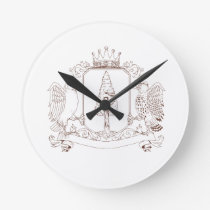 Owl and Hawk Redwood Crown Crest Drawing Round Clock